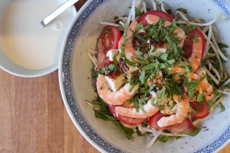 Salade de soja au poulet et aux crevettes